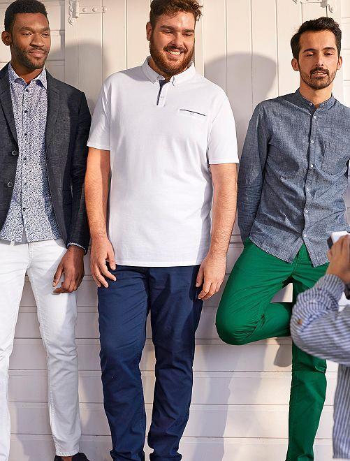 Pantalon fitted en coton stretch                             bleu indigo Grande taille homme