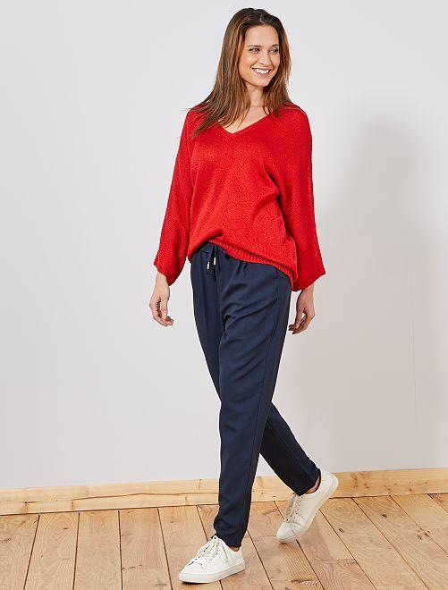 pantalon fluide femme bleu marine kiabi 15 00. Black Bedroom Furniture Sets. Home Design Ideas