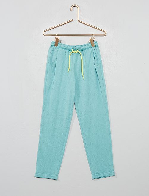 Pantalon fluide en maille gaufrée                             vert d'eau