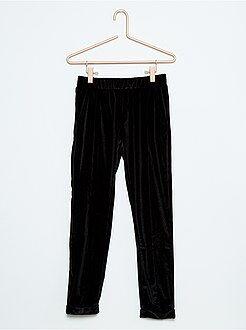 Pantalon, pantacourt - Pantalon fluide en velours stretch