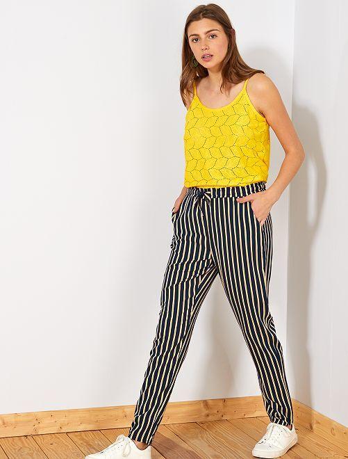 Pantalon fluide imprimé                                                                 BLEU Femme