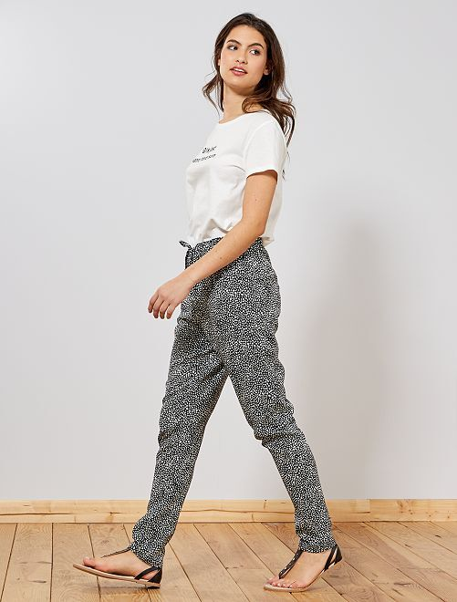 Pantalon fluide imprimé                                                                 noir/blanc Femme