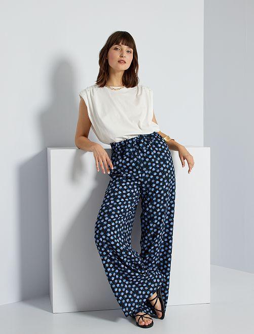 Pantalon fluide imprimé                                                                 noir/fleurs bleues