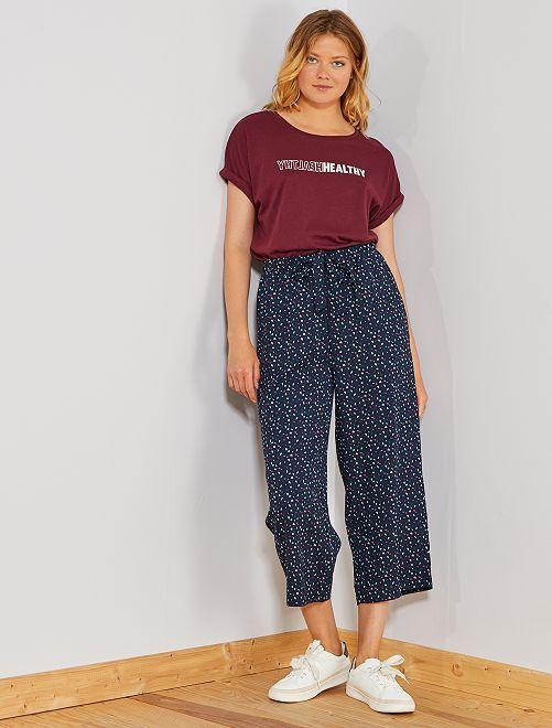 Pantalon large fluide 7/8ème                                                                     bleu marine confettis Femme