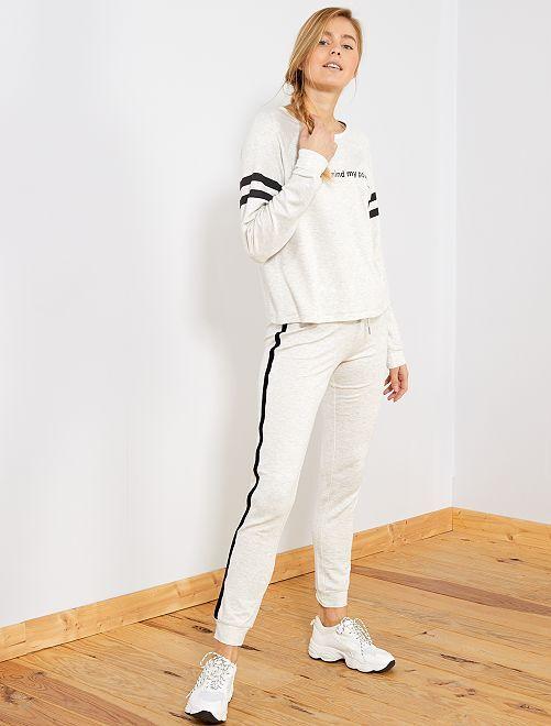 Pantalon molleton bandes côtés                             gris chiné
