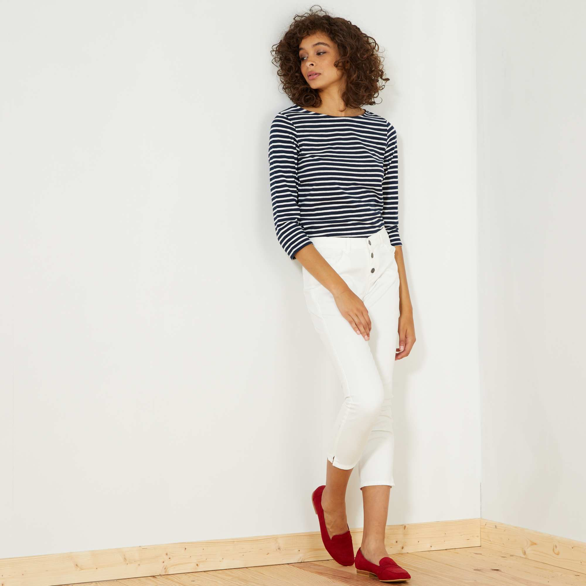 pantalon slim 7 8e taille haute femme kiabi 7 20. Black Bedroom Furniture Sets. Home Design Ideas