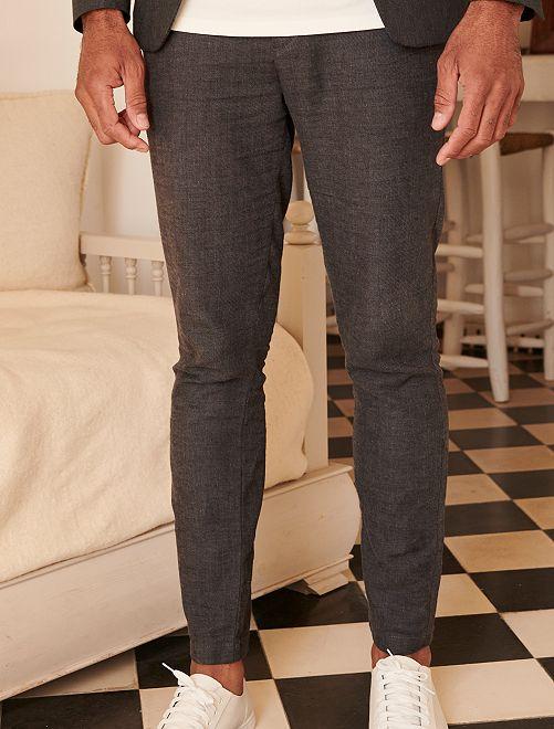 Pantalon slim en lin et coton                             gris