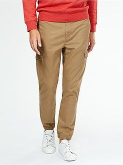 Pantalon slim en twill façon jogging