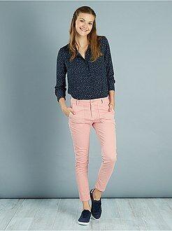 Pantalon slim - Pantalon slim poches cargo toucher doux
