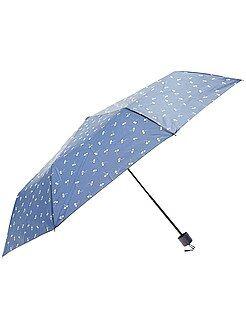 Accessoires bleu - Parapluie pliant bleu marine imprimé 'fleurs'