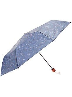 Accessoires orange - Parapluie pliant bleu marine imprimé 'pois'