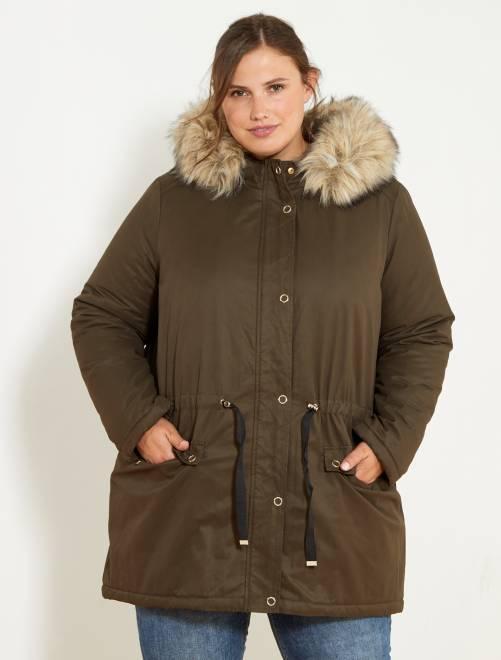 parka en coton avec capuche et fausse fourrure grande taille femme kaki kiabi 55 00. Black Bedroom Furniture Sets. Home Design Ideas