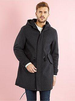 Manteau, veste - Parka longue à capuche en lainage
