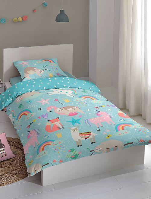 Parure de lit 1 personne 'animaux'                             bleu