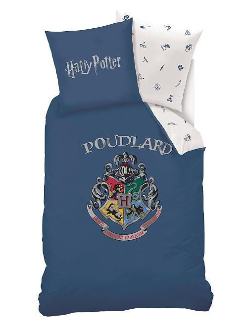 parure de lit 1 personne 39 harry potter 39 linge de lit bleu kiabi 35 00. Black Bedroom Furniture Sets. Home Design Ideas