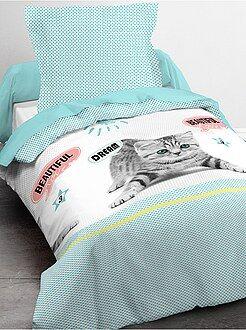 Parure de lit 1 personne imprimé chat