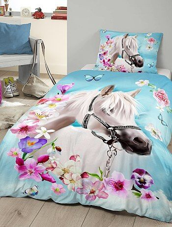 Maison - Parure de lit 1 personne imprimée 'cheval' - Kiabi