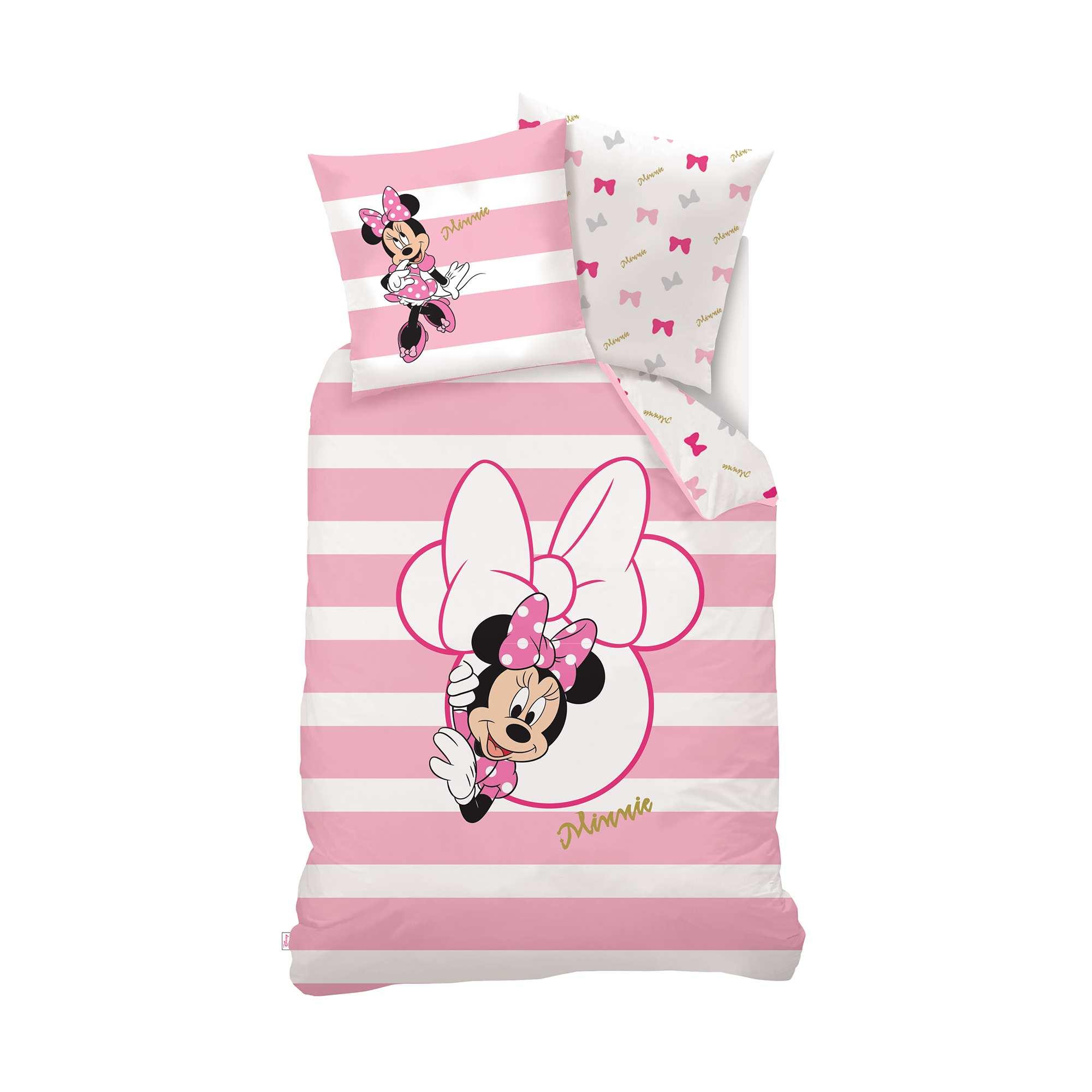 Parure de lit 1 personne 39 minnie mouse 39 39 disney 39 linge de - Linge blanc devenu rose ...