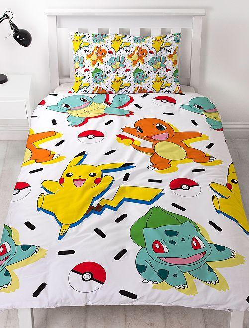 parure de lit 1 personne 39 pikachu 39 linge de lit blanc. Black Bedroom Furniture Sets. Home Design Ideas