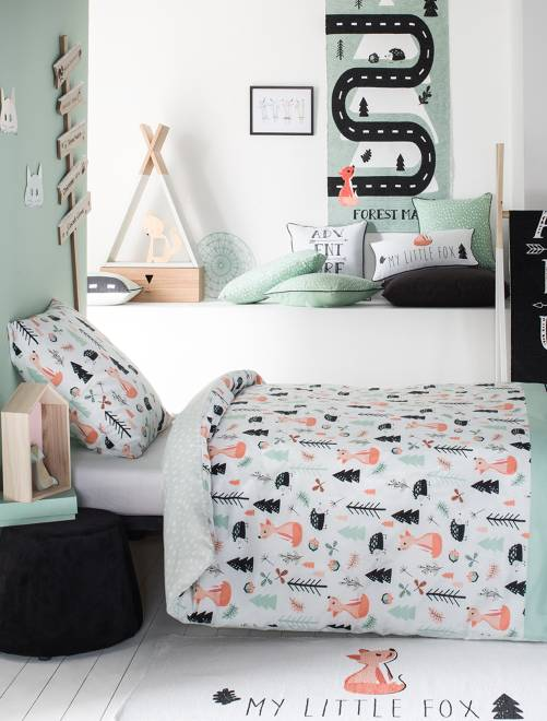 parure de lit 1 personne 39 renard 39 linge de lit vert. Black Bedroom Furniture Sets. Home Design Ideas