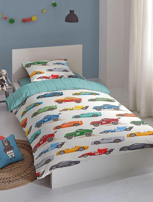 Parure de lit 1 personne 'voiture'                             écru/bleu