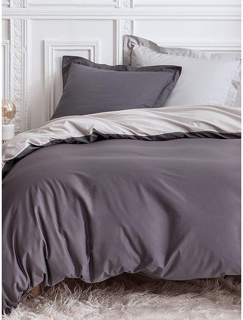 Parure de lit 2 personne réversible                             gris