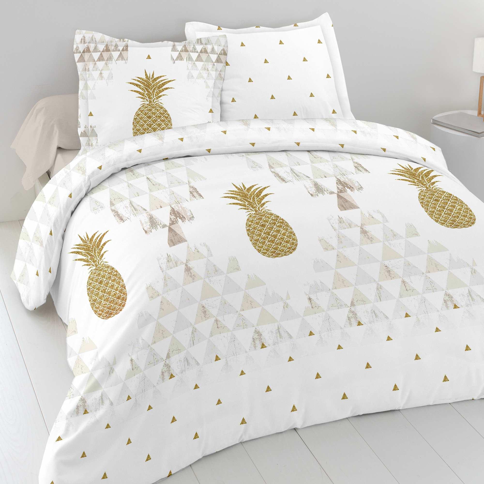 Parure de lit 2 personnes 39 ananas 39 linge de lit blanc or - Parure de lit om 2 personnes ...