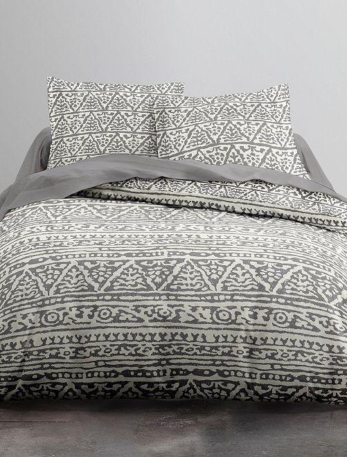 Parure de lit 2 personnes                             beige/gris