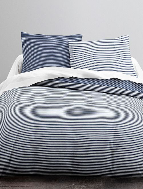 Parure de lit  2 personnes                             bleu rayé