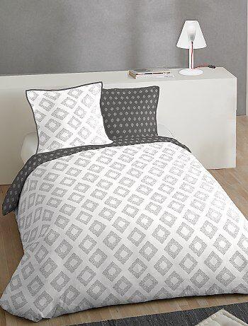 Maison - Parure de lit 2 personnes en coton - Kiabi