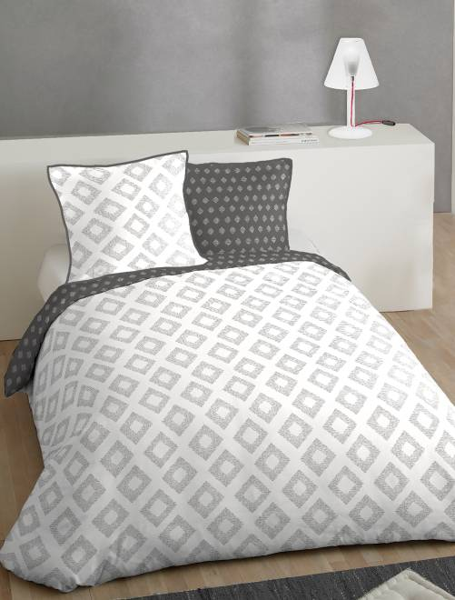 parure de lit 2 personnes en coton linge de lit blanc gris kiabi 35 00. Black Bedroom Furniture Sets. Home Design Ideas