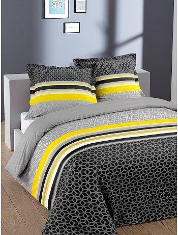 Parure de lit Linge de lit   gris   Kiabi
