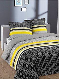 Linge de lit adulte - Parure de lit 2 personnes en coton 'geométrique' - Kiabi