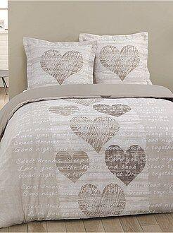 Parure de lit - Parure de lit 2 personnes imprimé 'coeurs' - Kiabi