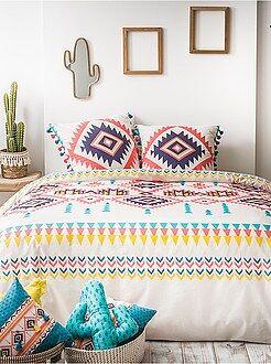 Linge de lit adulte - Parure de lit 2 personnes imprimé ethnique - Kiabi