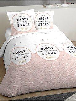 Linge de lit adulte - Parure de lit 2 personnes imprimé fantaisie - Kiabi