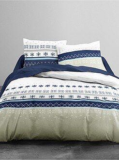 Linge de lit adulte - Parure de lit 2 personnes imprimé flocons - Kiabi