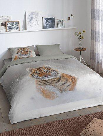 parure de lit 2 personnes imprim 39 tigre 39 linge de lit gris kiabi 25 00. Black Bedroom Furniture Sets. Home Design Ideas