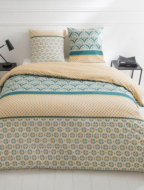 Parure de lit 2 personnes                             jaune/bleu