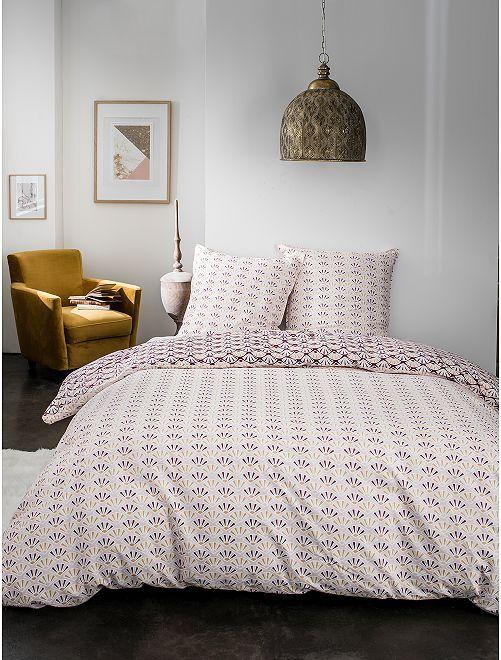 Parure de lit 2 personnes micro motifs                             rose fuchsia