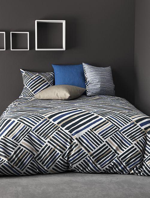 Parure de lit 2 personnes réversible                             ecru/bleu Linge de lit