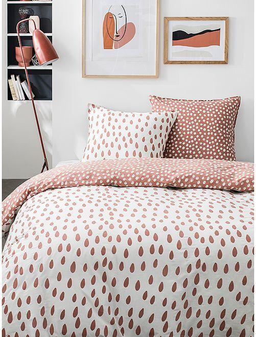 Parure de lit 2 personnes                             rose/beige