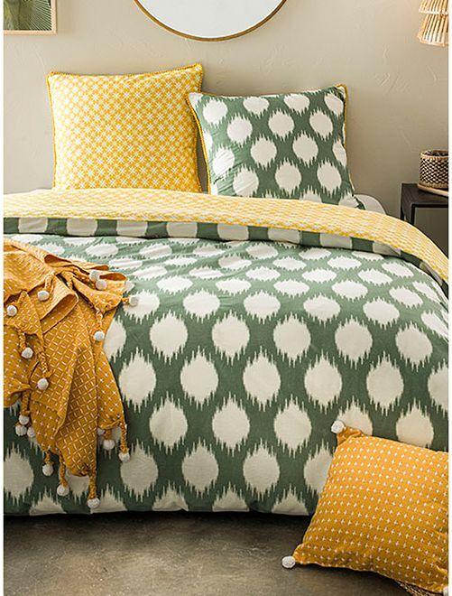 Parure de lit 2 personnes                             vert/blanc