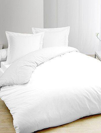Parure de lit blanc en pur coton - Kiabi