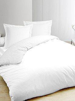 Parure de lit - Parure de lit blanc en pur coton - Kiabi