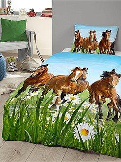 Parure de lit imprimé 'chevaux'