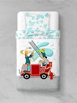 Linge de lit enfant - Parure de lit 'Pompiers animaux'