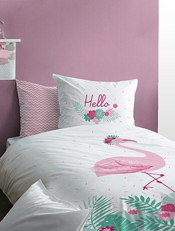 Parure de lit réversible 'flamant rose' - Kiabi