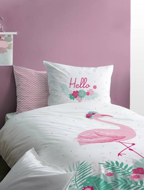 parure de lit r versible 39 flamant rose 39 linge de lit. Black Bedroom Furniture Sets. Home Design Ideas