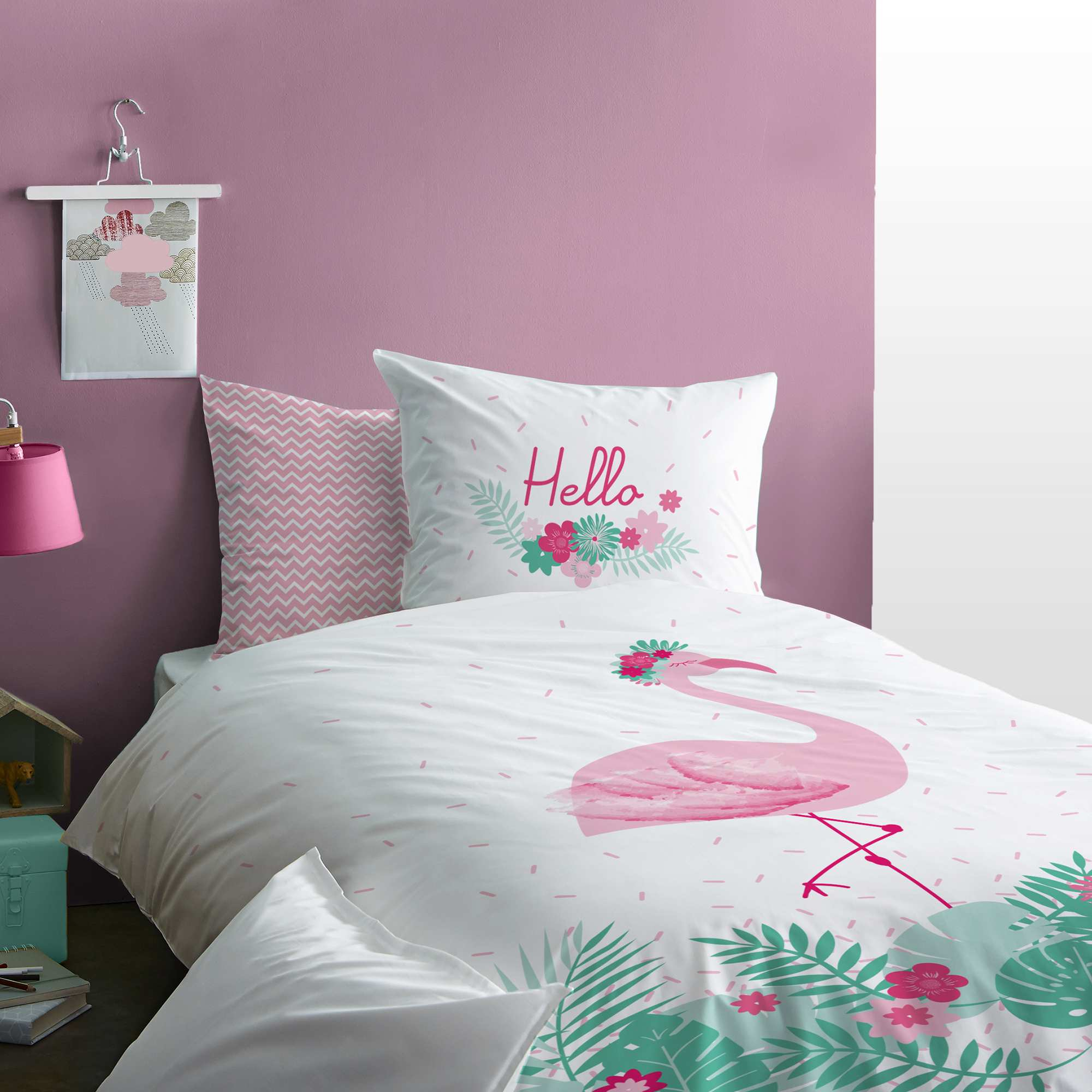 parure de lit r versible 39 flamant rose 39 linge de lit blanc kiabi 27 00. Black Bedroom Furniture Sets. Home Design Ideas